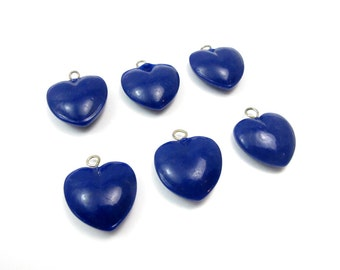 Vintage Navy Blue Pressed Glass Heart Charms (6X) (P565)