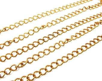 Large Vintage Red/Orange Brass Curb Chain (3 feet) (C618)