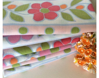 Vintage Sheet Fabric -  Fat Quarter - Retro Pink Flowers with Orange and Green Polka Dots, Stripes