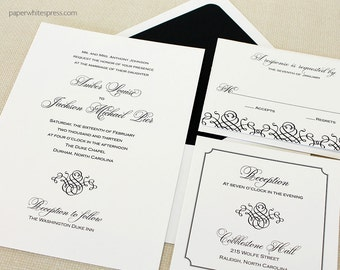 "Black Tie Wedding Invitations, Formal Wedding Invitation, Classic Wedding Invitation, ""Black Tie"" - Sample Set"