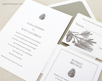 Pinecone Wedding Invitations, Pine Tree Wedding Invitations, Rustic Wedding Invitations, Outdoor Wedding Invitations, Pinecone Invites