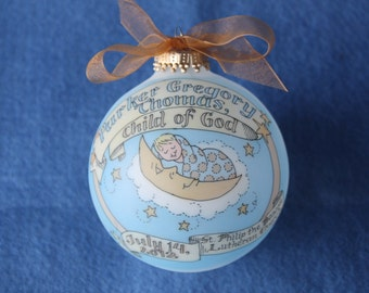Baby Boy Baptism, Child of God, Baby in the Moon Keepsake Ornament, Handpainted, Personalized, and totally Original, WITHOUT Display Stand