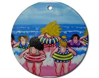 Big Tube Beach Divas Fun Whimsical Colorful Round Porcelain Ornament
