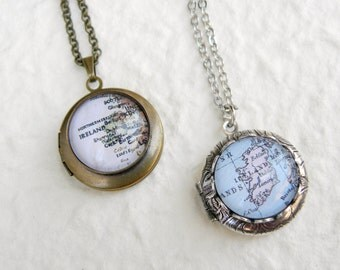 Ireland Map Locket Necklace - featuring Dublin, Cork, Galway, Belfast, and more - YOU Choose your map from 15 designs - Custom Map Jewelry