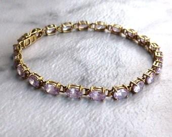 10kt Gold Lilac Tennis Bracelet - Vintage 1980's Prong Set Cubic Zirconia Bracelet - 7.5 inch - Gift for Her