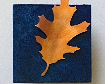 Oak leaf copper artwork wall hanging,  Formed copper leaf metal wall art, Oak leaf nature inspired art by Copper Leaf Studios