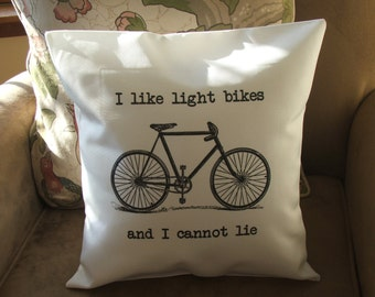 I like light bikes  throw pillow, personalized  throw pillow cover