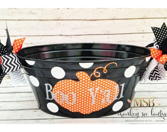 Halloween candy tub with large orange polka dot pumpkin - Boo Y'all - personalized with family name on the back - halloween decor