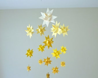 Baby Crib Mobile Hanging Origami Stars -'Milky Way Major' Ombre Yellow
