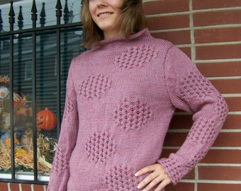 Hand knit honeycomb cabled wool pink long sleeves sweater new size 6-8 pullover