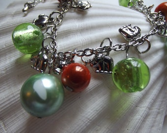 Orange Green Bead Elephants Charm Bead Bracelet To Benefit Heart Strings