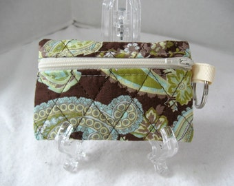 Quilted Coin Purse - Paisley Change Purse - Brown Celery - Change Purse with Keychain - Brown Paisley Earbud Case