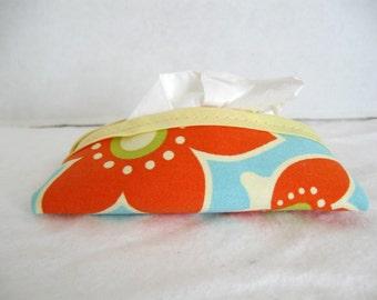 Floral Tissue Holder Pocket Tissue Case Orange Aqua Blue Flowers Cozy