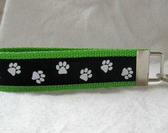 Paw Print Key Chain - LIME Black Animal Key Fob Wristlet - School Spirit Keychain - Panther Paw Print - Cat Paw Print - Dog Paw Print