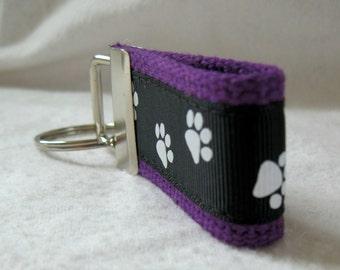 Paw Print Key Fob Mini -  Dog Print Key Fob - Small Key Chain Cat Paw Print - Purple Black School Spirit