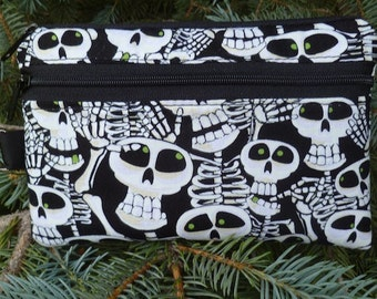 Skeleton mini wallet, purse organizer, wristlet, Glow in the Dark, Bone Yard, Sweet Pea