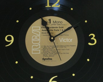 Record Album Wall Clock - ELVIS - Recycled Vinyl LP