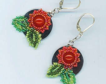 Sterling Silver Red Floral Earrings . Beadwoven Dangle . Red Jasper. Green Leaves . Christmas - Floral Elegance by enchantedbeads on Etsy