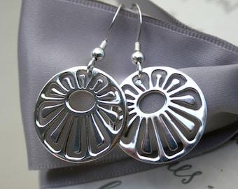 Sterling Poppy flower earrings