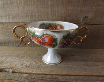 Royal Sealy China, Lustreware Compote, Fruit Pattern, Two Handled Compote, Circa 1950