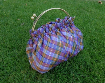 Purse in Bias Purple Plaid China Silk with 8 Inch Frame