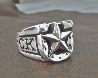 Horseshoe Men's Ring in Sterling Silver 'LUCKY BASTARD' Men ring - Gift for h im - Custom carving - Cowboy ring - Free shipping in the US