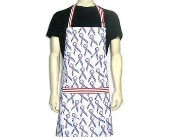 Cooking Apron for Men , Red White and Blue American Flag Ribbons , Patriotic 4th of July decor