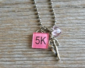 SALE - 5K - Run - Run like a girl - Altered Vintage Glass Watch Crystal Pendant Necklace - Recycled Upcycled - Ready To Ship
