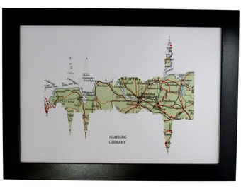 Hamburg City Germany Skyline Print with vintage map