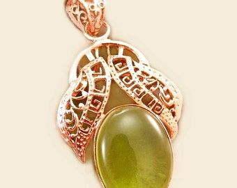 Sale: Green Glass  and Copper Pendant