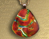 Fused Dichroic Glass Pendant  Jewelry - Hot Summer Nights - F77