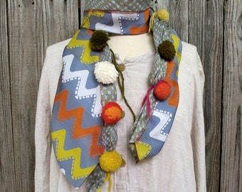 Recycled PomPom Necktie Scarf- Vintage Silk and Polyester: Steel Grey, Yellow, Orange, Tie #7