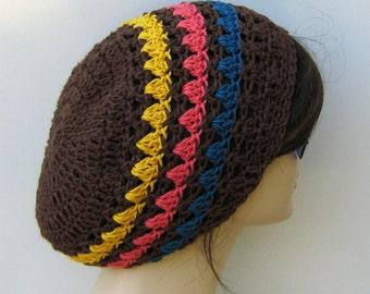 Striped hat hemp wool soy slouchy beanie small tam hat brown hat women