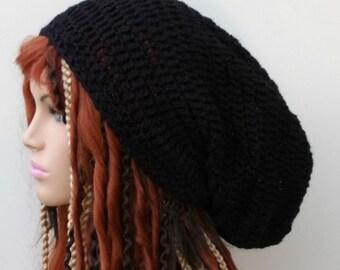 Very slouchy black Hemp Wool Tam Hat Hippie Slouchy Beanie dread men women extra long