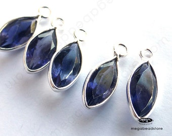 6 pcs 8mm Tiny Iolite (natural) Sterling Silver Bezel Marquise Drops Pendants F598S