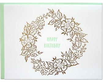 Birthday Wreath Foil Card