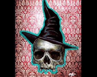 """Print 8x10"""" - Witch - Dark Art Skull Skeleton Fetal Halloween Haunted Witchcraft Wiccan Gothic Victorian Cute Horror Cute Ghost Spell"""