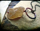 Citrine rough necklace, November Birthstone Artisan forged copper ring Semiprecious stone - November's Child