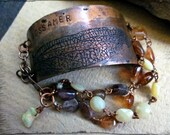 Etched copper cuff bracelet, Dragonfly Wing Pink tourmaline Yellow opal Citrine Wire wrapped copper - Gossamer