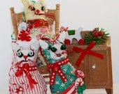 Trio of Tiny Mini Kitty Love Token Christmas Colors Ornaments (3) Hand Created per Order