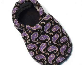 Purple Paisley Soft Soled Baby Shoes 18-24mo
