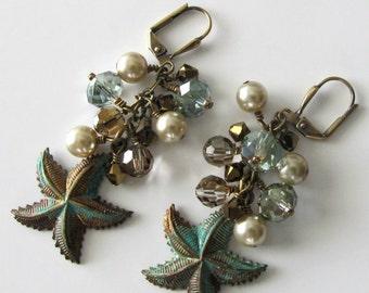 Starfish Beaded Earrings Verdigris Patina Pearls Crystals Antique Brass Beach jewelry Beach wedding beaded jewelry by pacificjewelrydesign