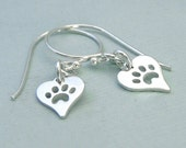 READY TO SHIP - Heart Dog Earrings - Sterling Silver - Dog Agility Jewelry - Canine Agility Earrings - Heart & Paw - Pawprints on Hearts