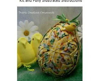 Quilted Ornament Easter Egg with Chick Kit and Pattern