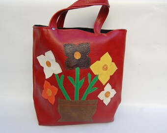 flower leather applique bag