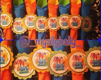 MADE TO ORDER Bubble Guppies Theme Wrapped Utensils with Napkin Ring holder