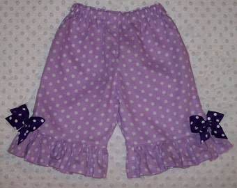 Lavender Dot Ruffled Pants with Purple Dot Bows Great for a Birthday Party or Vacation