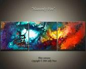 Large abstract triptych wall art, canvas art, fine art giclee prints from my fluid painting Heavenly Fire, inspirational art, spiritual art
