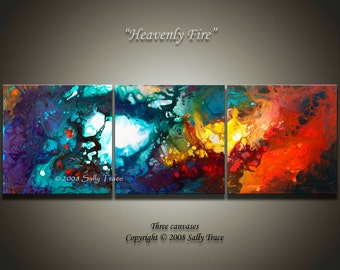Large abstract art, triptych wall art, fine art giclee prints from my fluid painting Heavenly Fire, inspirational art, spiritual art