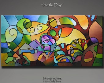 Original Abstract Painting, Geometric Landscape Tree Painting, Large Wall Art, Into the Day 24x48, Geometric Abstract Art stained glass look
